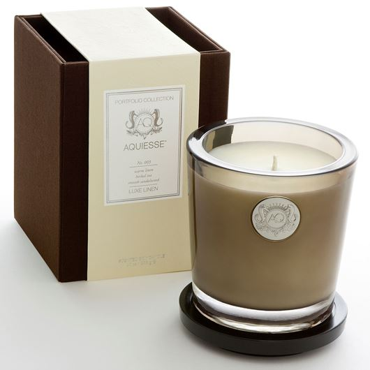 Picture of LUXE LINEN candle large brown