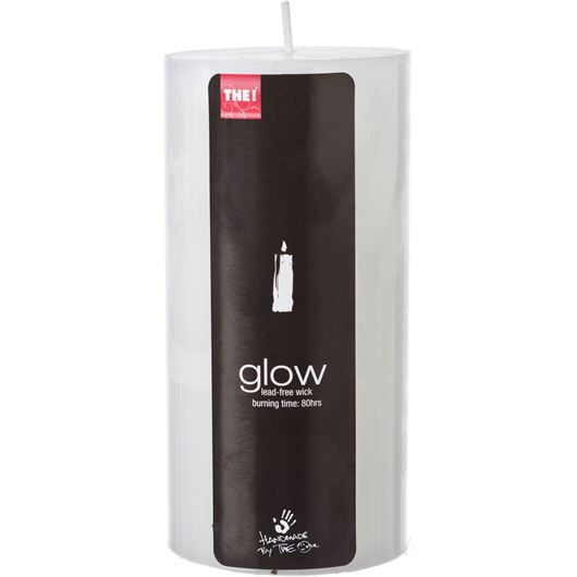 GLOW pillar candle 8x15 white