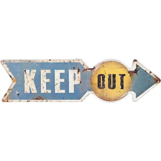 Picture of KEEP OUT wall decoration 15x52 blue/white