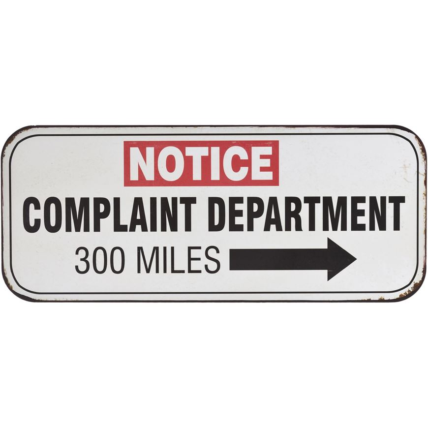COMPLAINT DEPARTMENT wall deco 31x13 white
