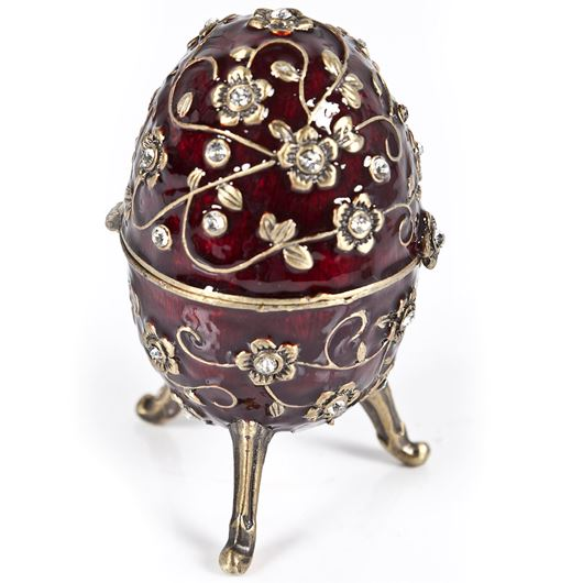 Picture of EGG trinket box red/gold