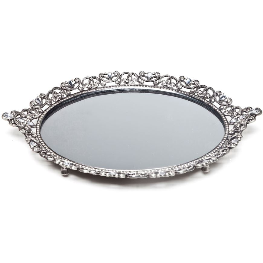 Picture of CRYSTAL mirror tray 24x35 silver
