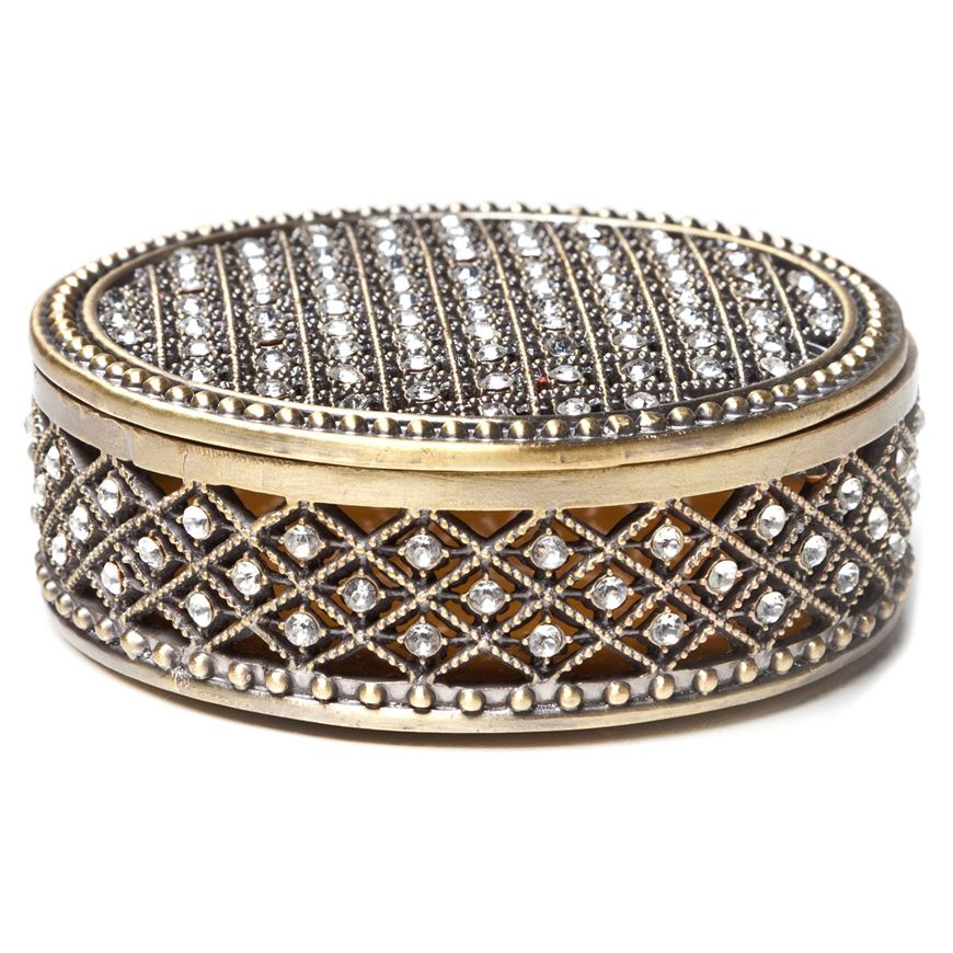 Picture of CRYSTAL trinket box d9cm gold