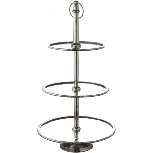 Picture of ALESE cake stand 3 tier h56cm silver