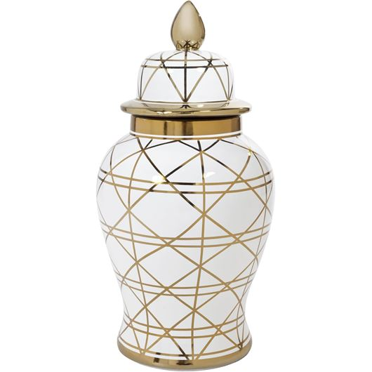 Picture of BONY jar with lid h65cm white/gold