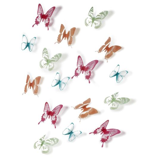 CHRYSALIS wall deco set of 16 multi colour