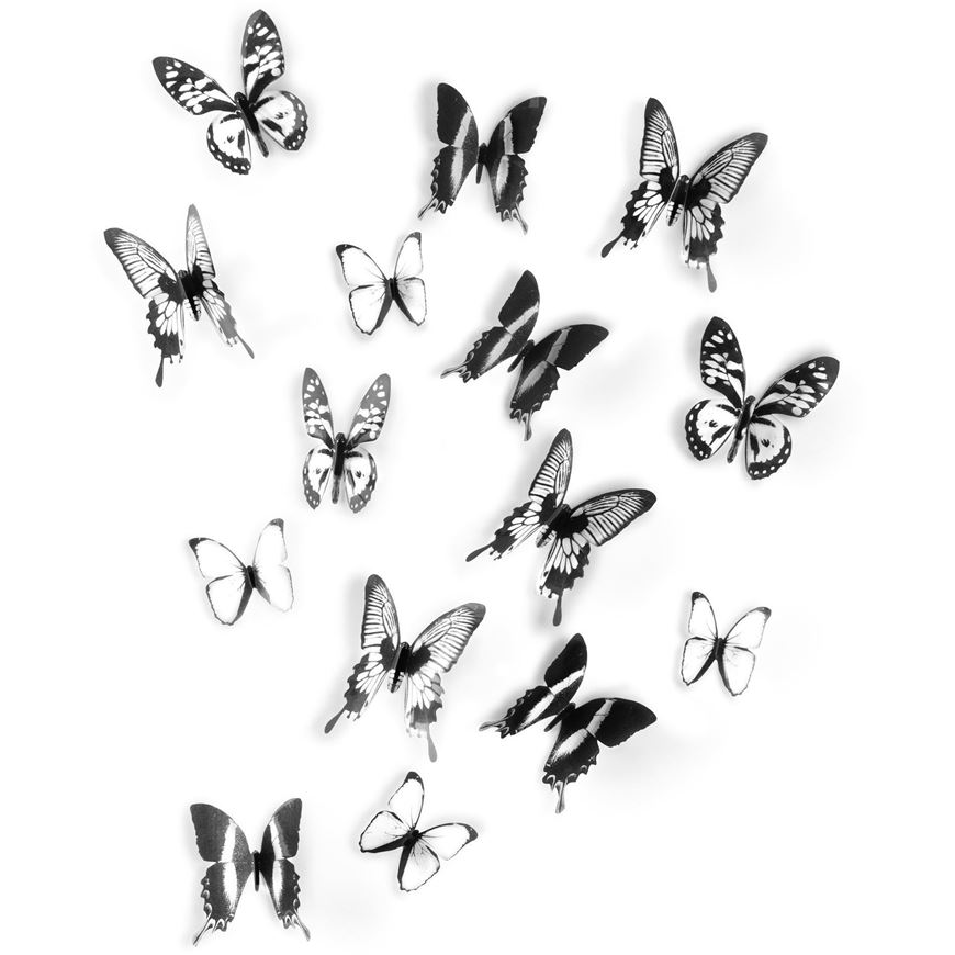 CHRYSALIS wall deco set of 16 black