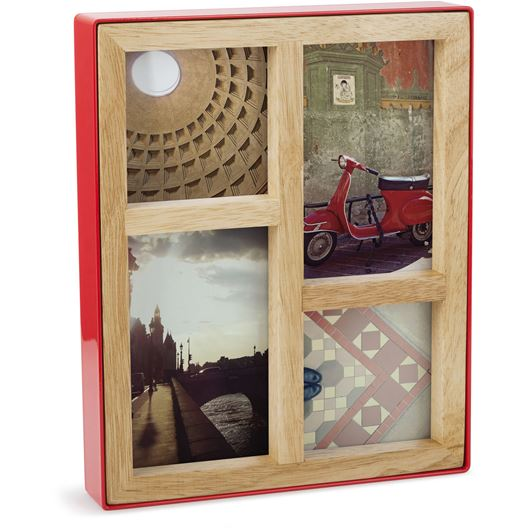 Picture of MULTI BLOCK photo frame 4 natural/red