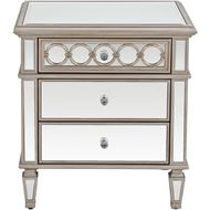 LINC bedside table clear/silver