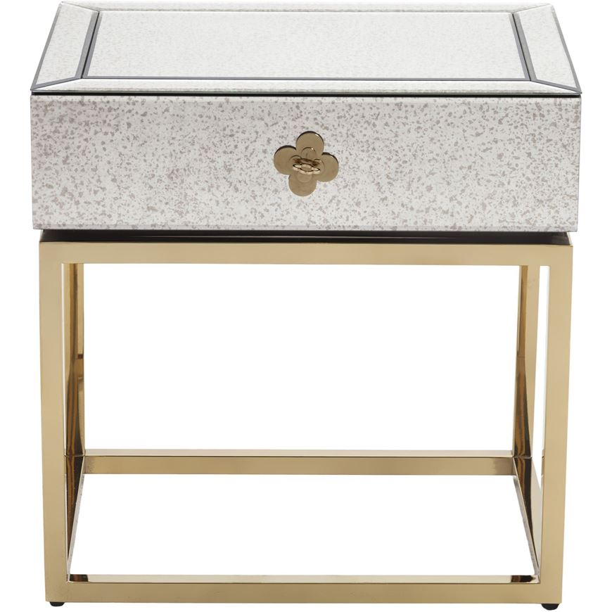 LIEN bedside table clear/gold