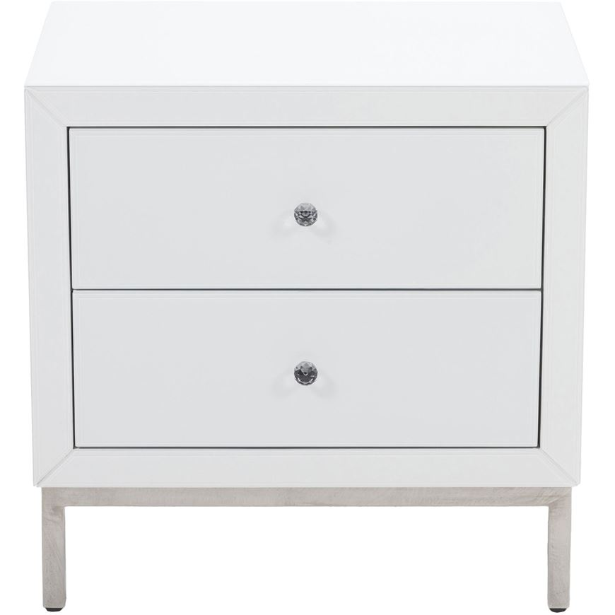 AMY bedside table white/stainless steel