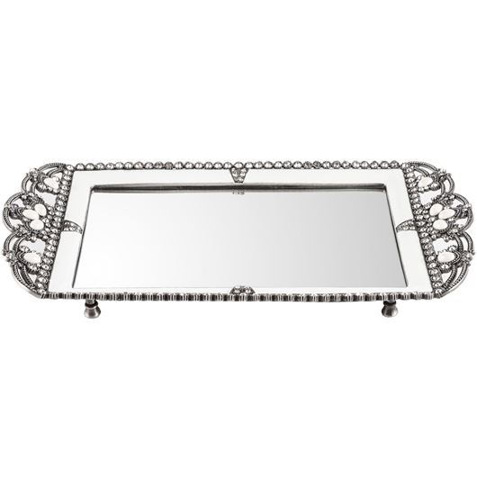 Picture of LEAH tray 36x20 white/silver