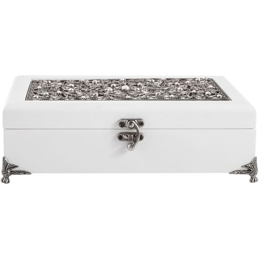 Picture of JUANNE jewellery box 26x17 white/silver