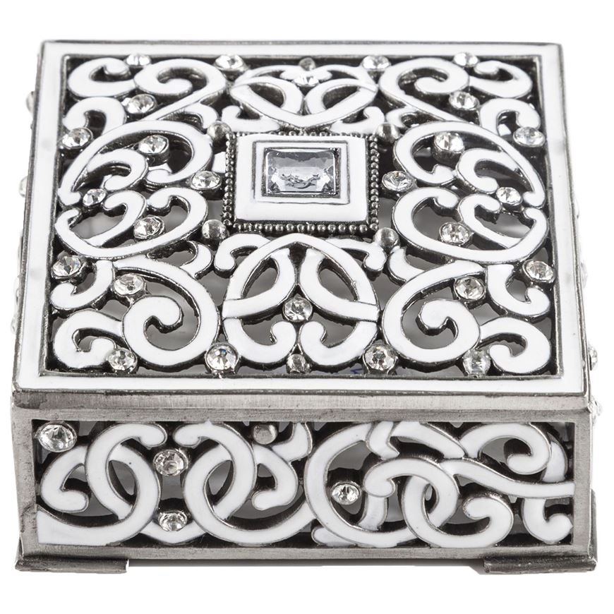 Picture of ARGENTA trinket box 8x8 white/silver