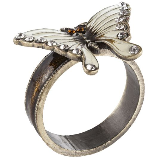 Picture of BUTTERFLY napkin ring white/gold