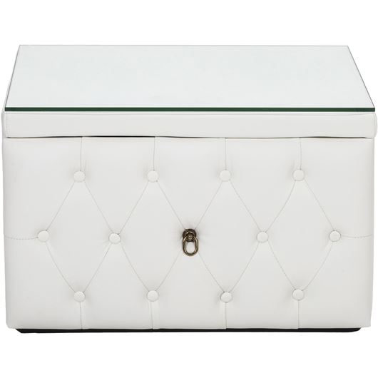 HESTOR bedside table leather white
