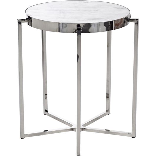 Picture of ROGERO side table d65cm stainless steel/white