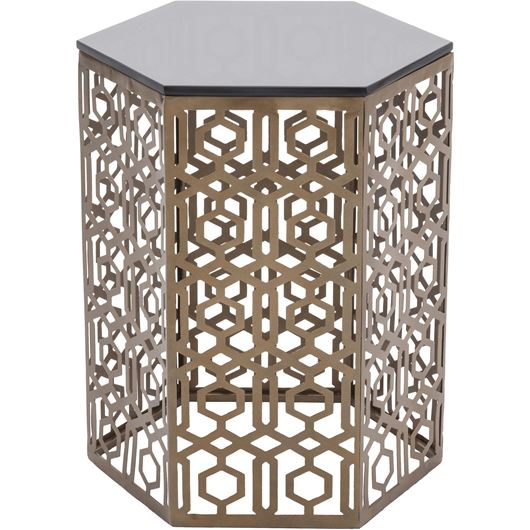 Picture of EDITA side table d46cm brass/black