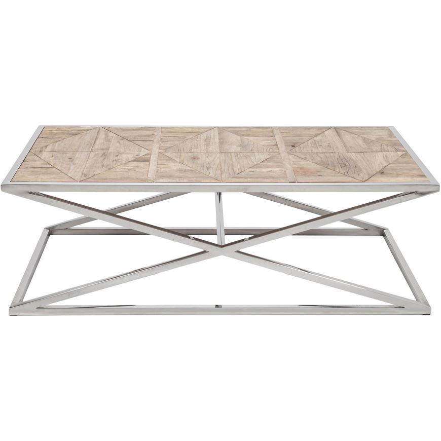 Picture of EXA coffee table 140x80 natural/stainless steel