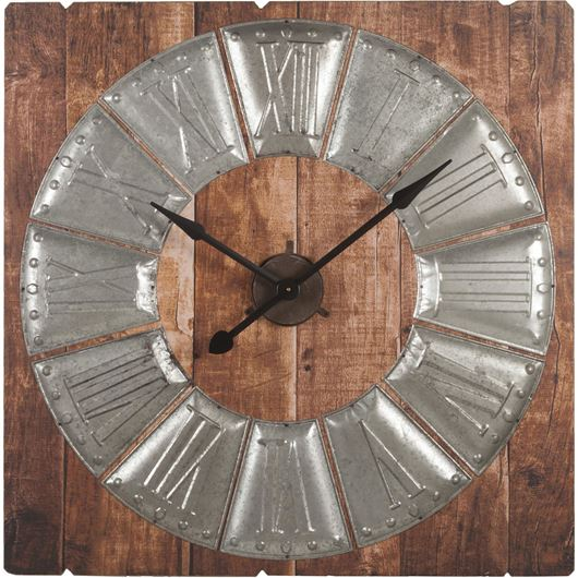 Picture of BURLY clock h92cm brown/silver
