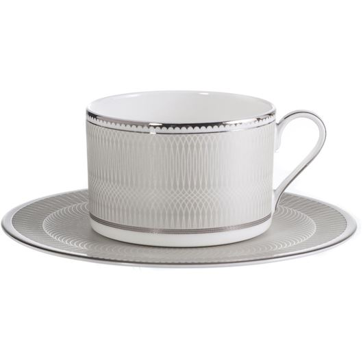 Picture of RUBEEN tea cup and saucer white/silver