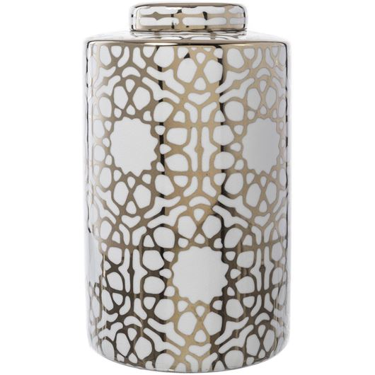 Picture of CIRA jar with lid h33cm white/gold