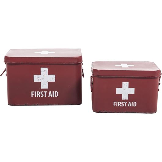 Picture of FIRST AID box decoration set of 2 red