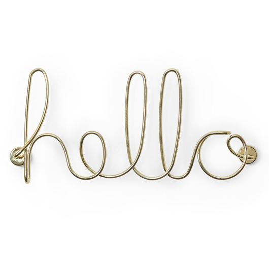 Picture of HELLO wall decoration 32x14 brass