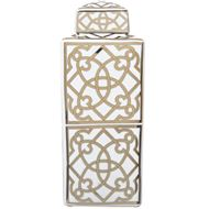 Picture of CIRA jar with lid h38cm white/gold