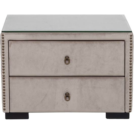 Picture of ASTEN bedside table microfibre taupe