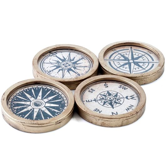 Picture of COMPASS coaster set of 4 yellow