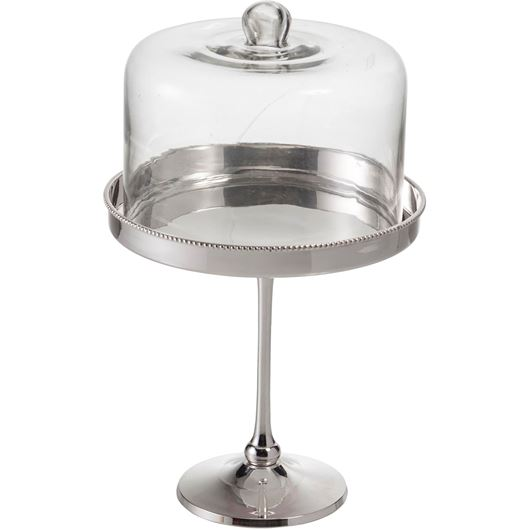 Picture of CHEVY cake stand h29cm silver/clear