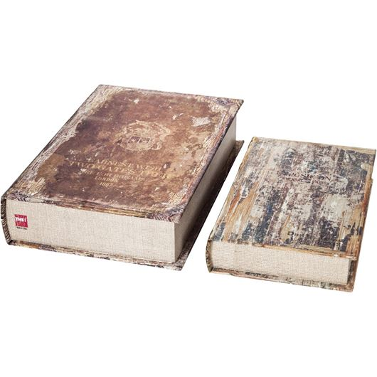 Picture of ANTIQUE book box set of 2 assorted 3 black/brown