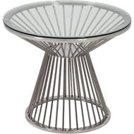 ARAY side table d60cm clear/stainless steel
