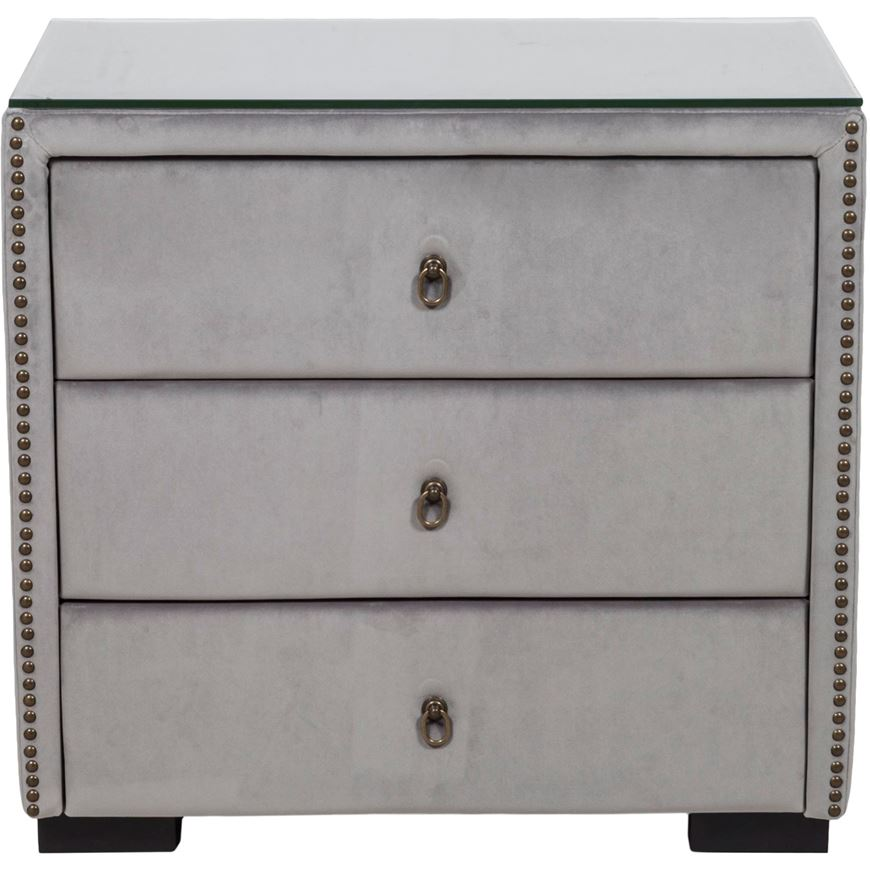 Picture of ASTEN II bedside table microfibre grey