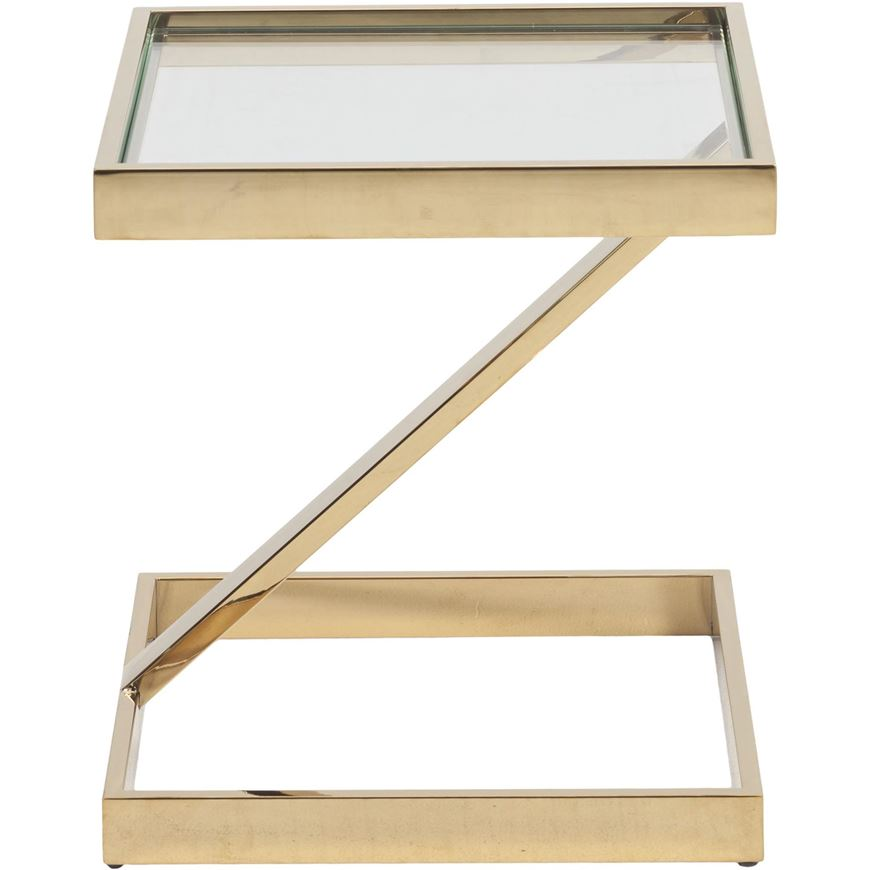 Picture of BOW side table 45x45 clear/gold