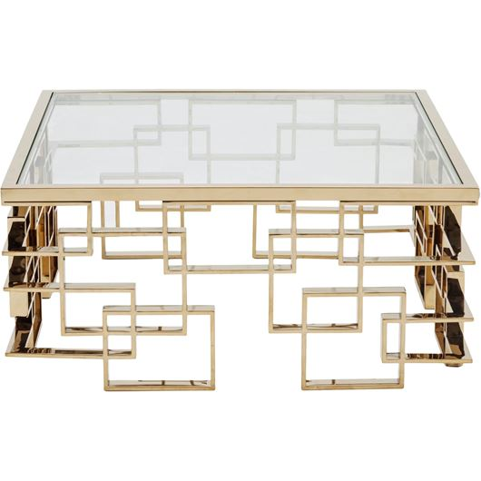 Picture of IAN coffee table 100x100 clear/gold
