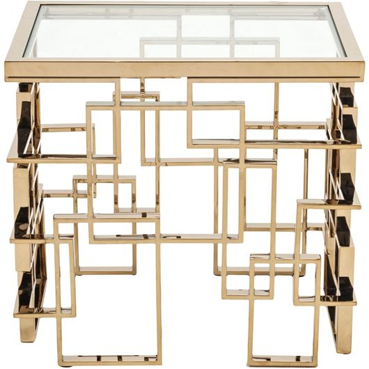Picture of IAN side table 65x50 clear/gold
