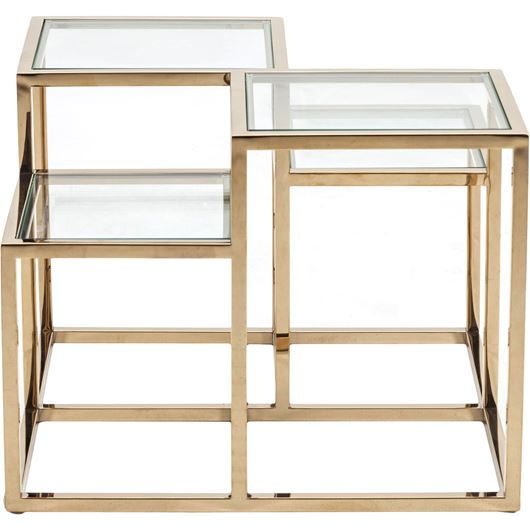 Picture of TRICK side table 65x65 clear/gold