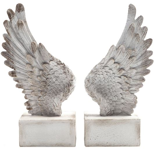 Picture of PINION bookends h25cm set of 2  white