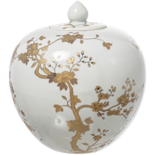 Picture of WILDA jar with lid h30cm white/gold