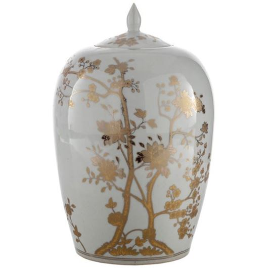 Picture of WILDA jar with lid h35cm white/gold