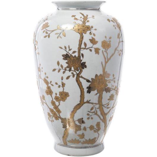 Picture of WILDA vase h35cm white/gold