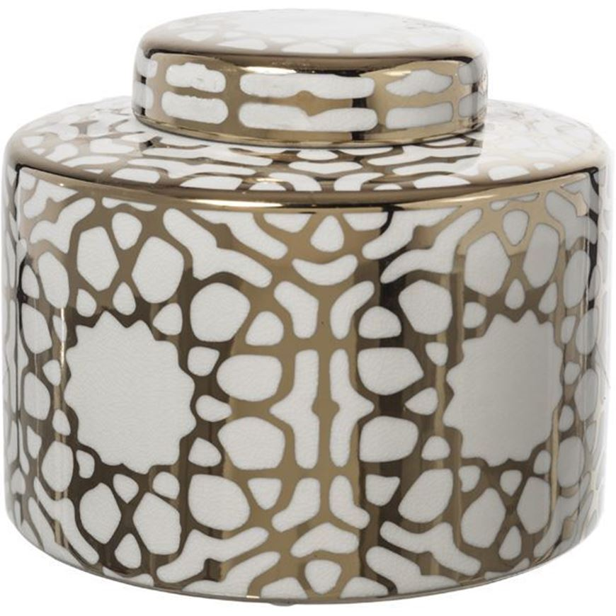 CIRA jar with lid h20cm white/gold
