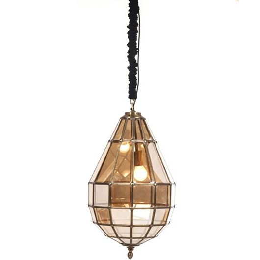 Picture of FINLO pendant lamp d36cm brown/brass