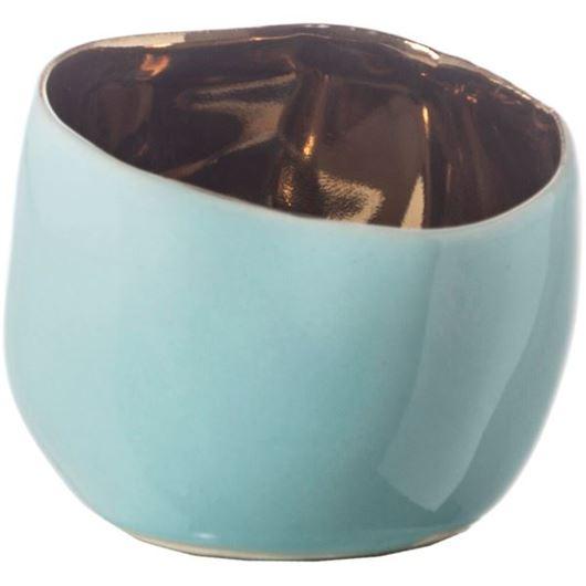 Picture of MINI tea light holder h5cm gold/blue