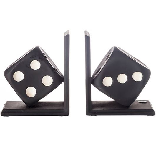 Picture of DICE bookends h18cm set of 2 black