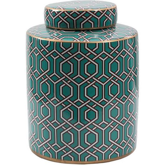 Picture of JANIA jar with lid h24cm green/gold