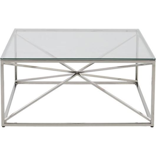 Picture of KOON coffee table 100x100 clear/nickel