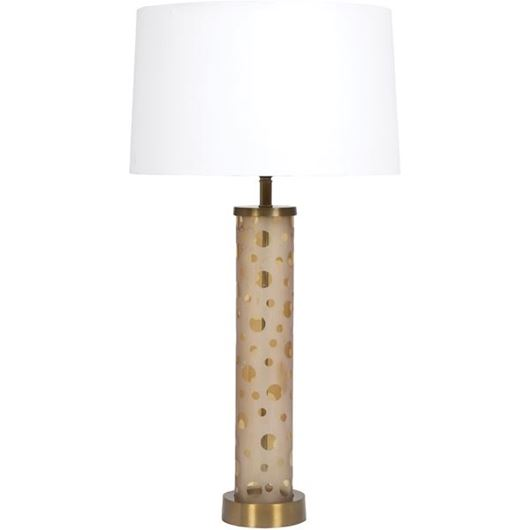 Picture of CYLINDER table lamp h76cm brass/white